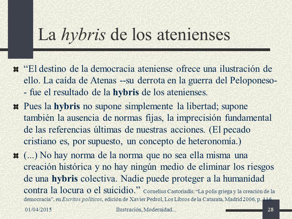 La hybris de los atenienses