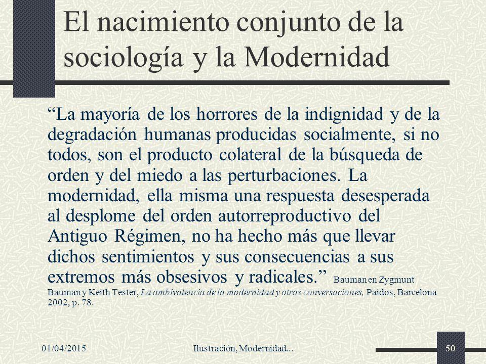 El nacimiento conjunto de la sociología y la Modernidad
