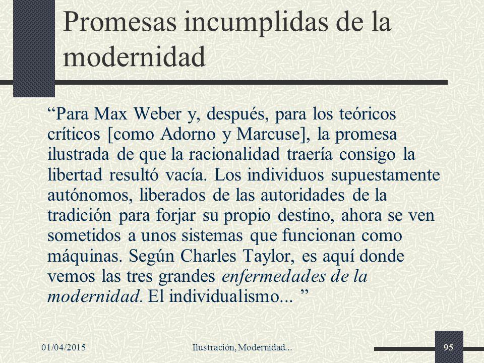 Promesas incumplidas de la modernidad