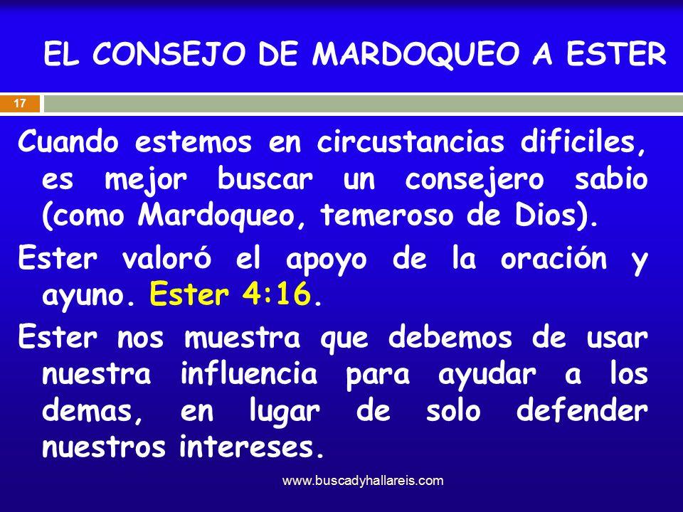 EL CONSEJO DE MARDOQUEO A ESTER