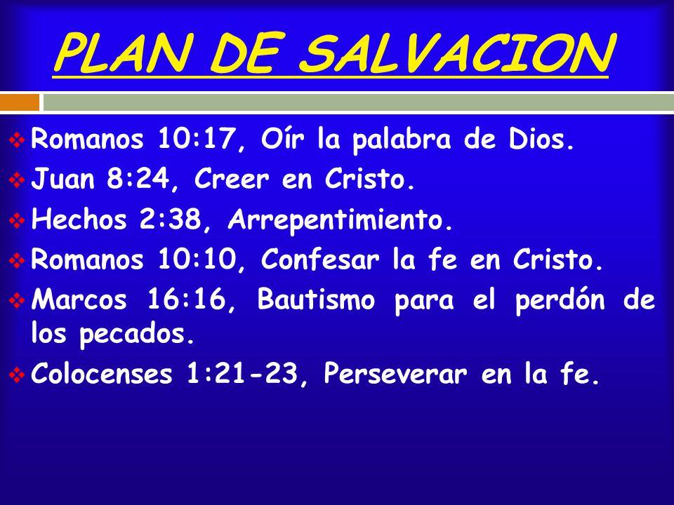 PLAN DE SALVACION Romanos 10:17, Oír la palabra de Dios.