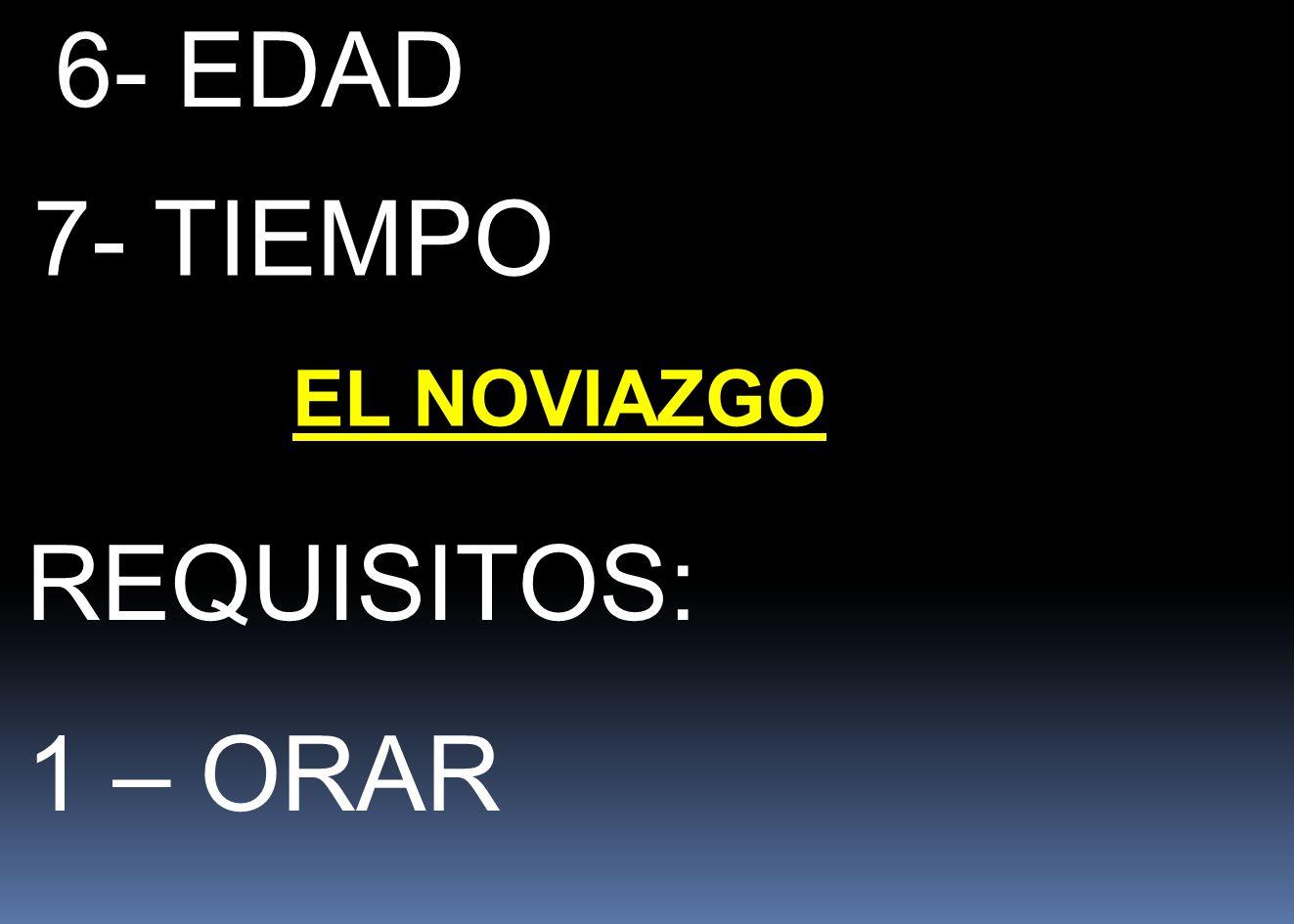 6- EDAD 7- TIEMPO EL NOVIAZGO REQUISITOS: 1 – ORAR