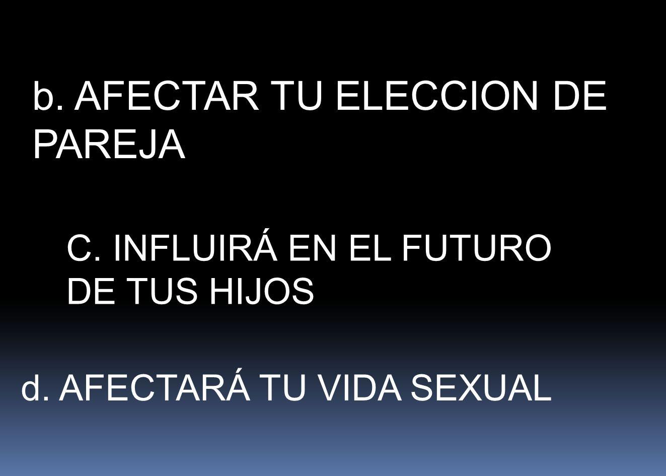 b. AFECTAR TU ELECCION DE PAREJA