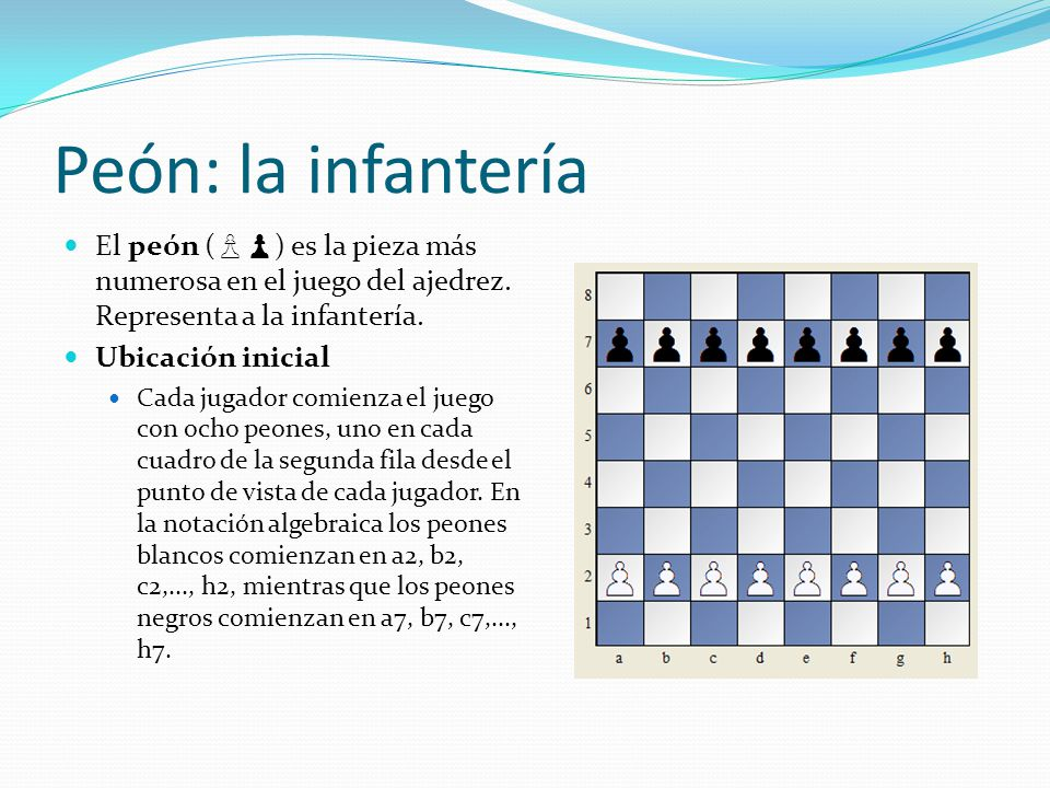 Peón: la infantería El peón (♙♟) es la pieza más numerosa en el juego del ajedrez. Representa a la infantería.