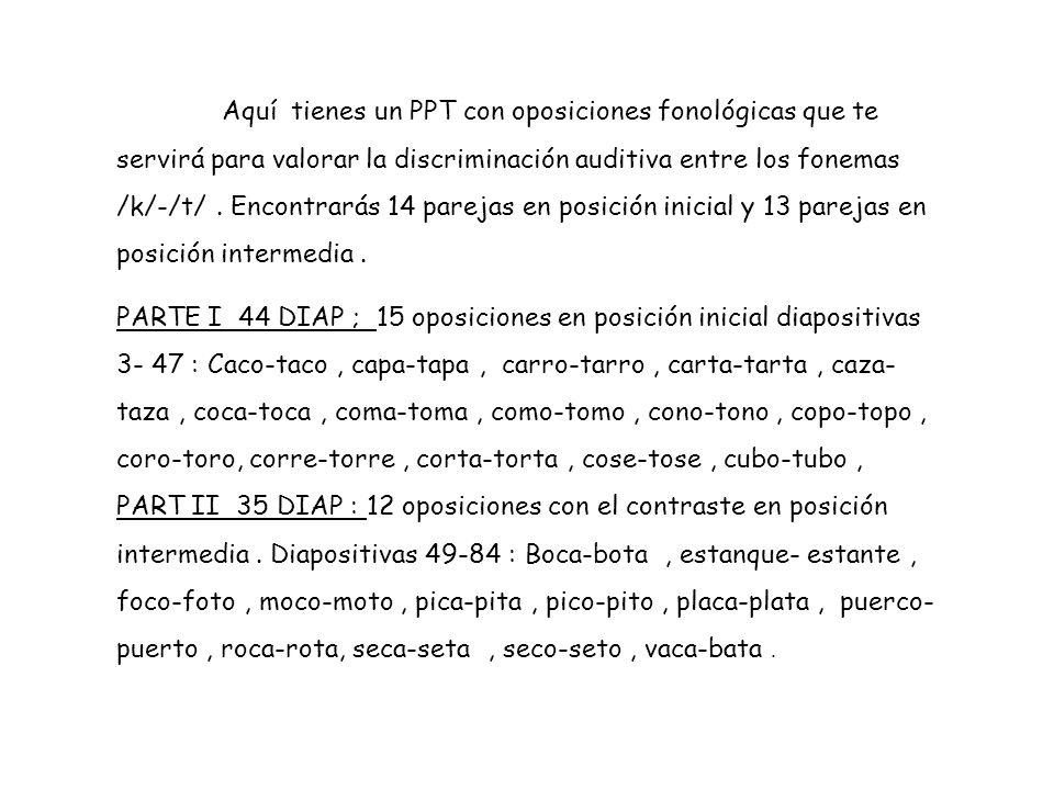 Aquí tienes un PPT con oposiciones fonológicas que te servirá para valorar la discriminación auditiva entre los fonemas /k/-/t/ . Encontrarás 14 parejas en posición inicial y 13 parejas en posición intermedia .