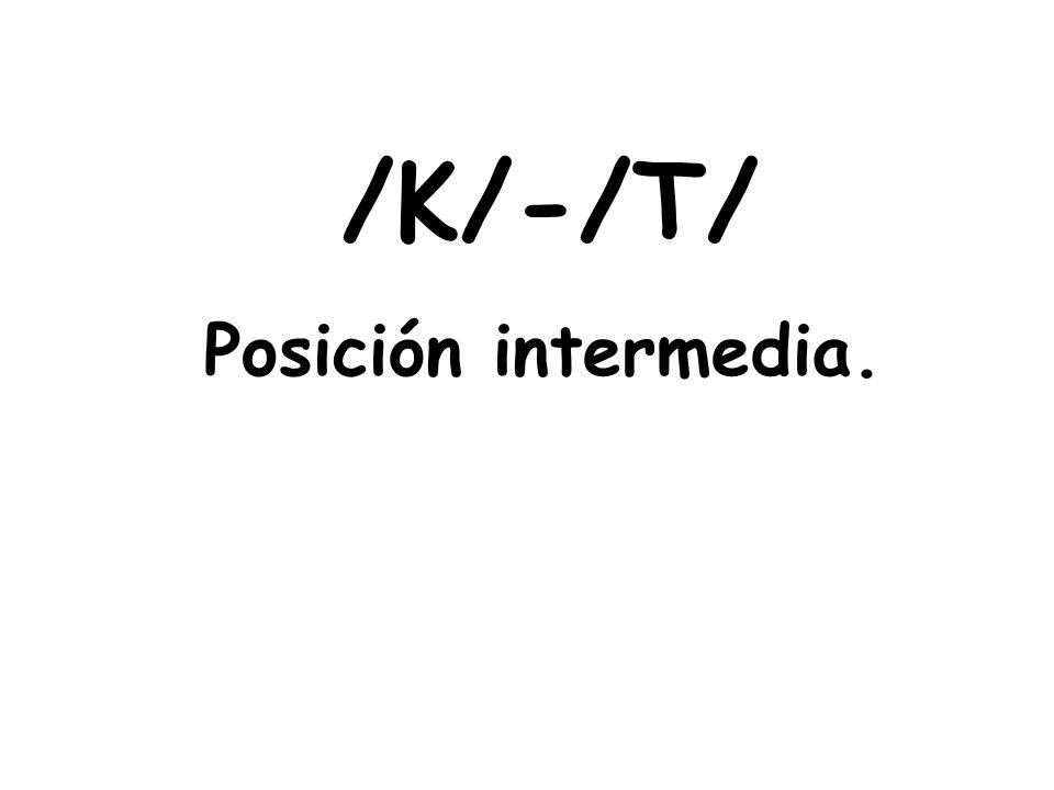 /K/-/T/ Posición intermedia.