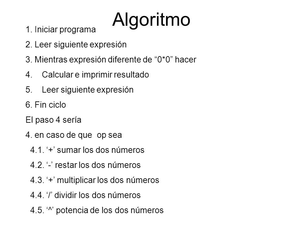 Algoritmo 1. Iniciar programa 2. Leer siguiente expresión