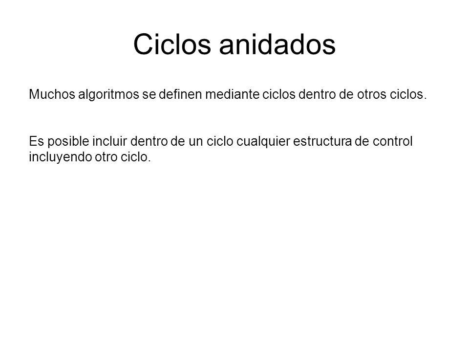 Ciclos anidados Muchos algoritmos se definen mediante ciclos dentro de otros ciclos.