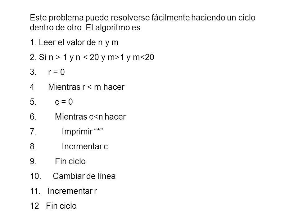 Este problema puede resolverse fácilmente haciendo un ciclo dentro de otro. El algoritmo es