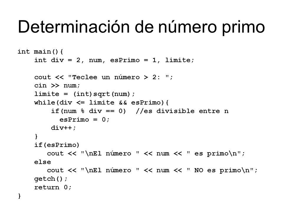 Determinación de número primo