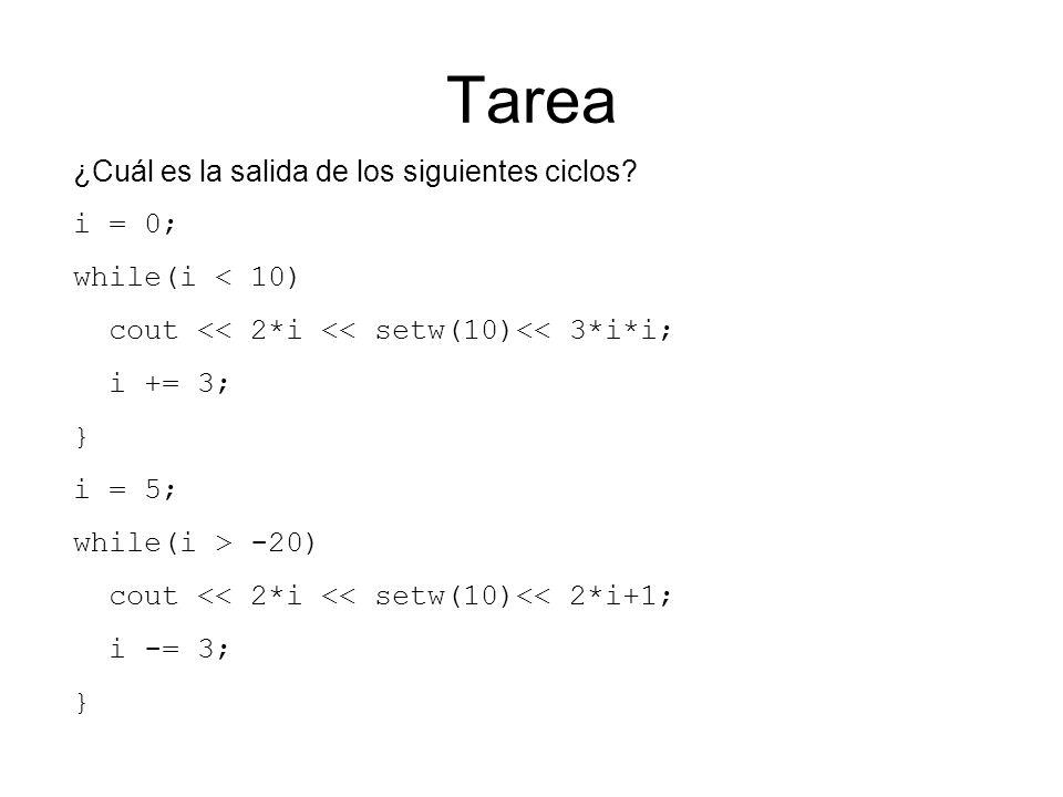 Tarea ¿Cuál es la salida de los siguientes ciclos i = 0;