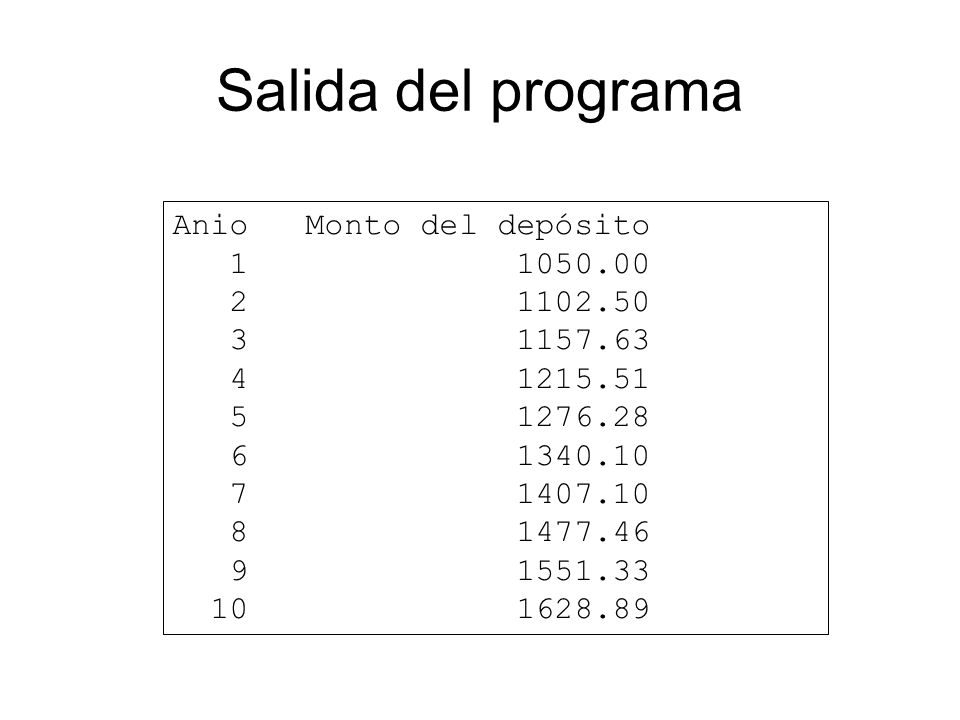 Salida del programa Anio Monto del depósito 1 1050.00 2 1102.50