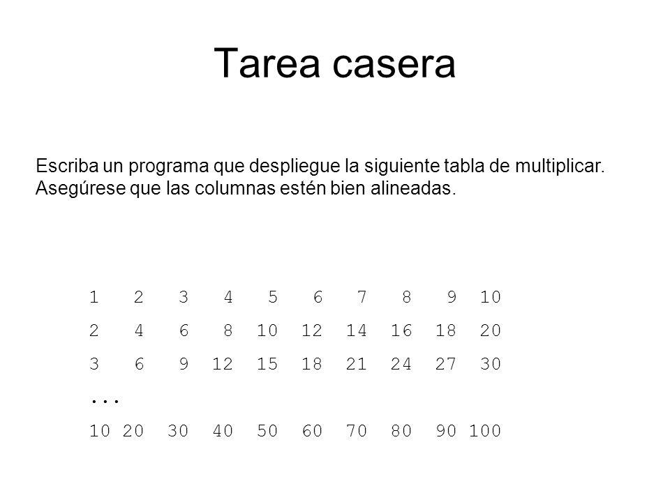 Tarea casera Escriba un programa que despliegue la siguiente tabla de multiplicar. Asegúrese que las columnas estén bien alineadas.
