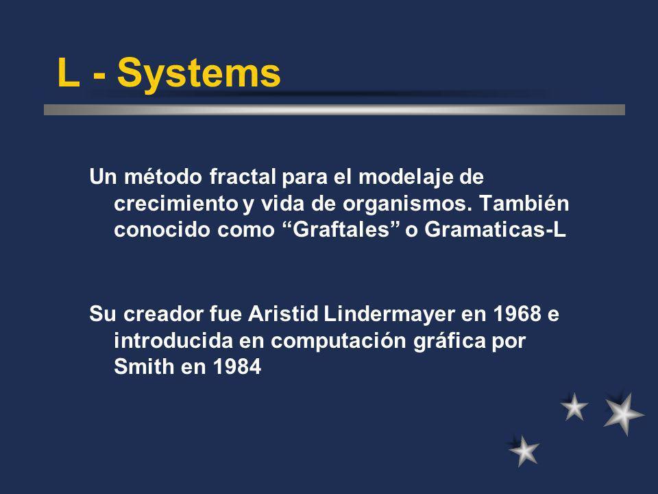L - Systems Un método fractal para el modelaje de crecimiento y vida de organismos. También conocido como Graftales o Gramaticas-L.