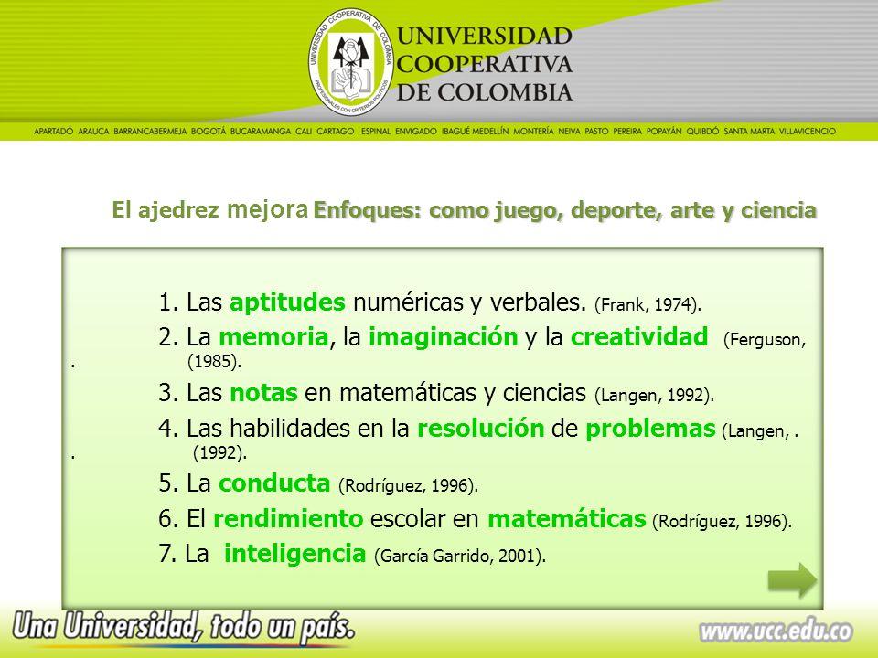1. Las aptitudes numéricas y verbales. (Frank, 1974).
