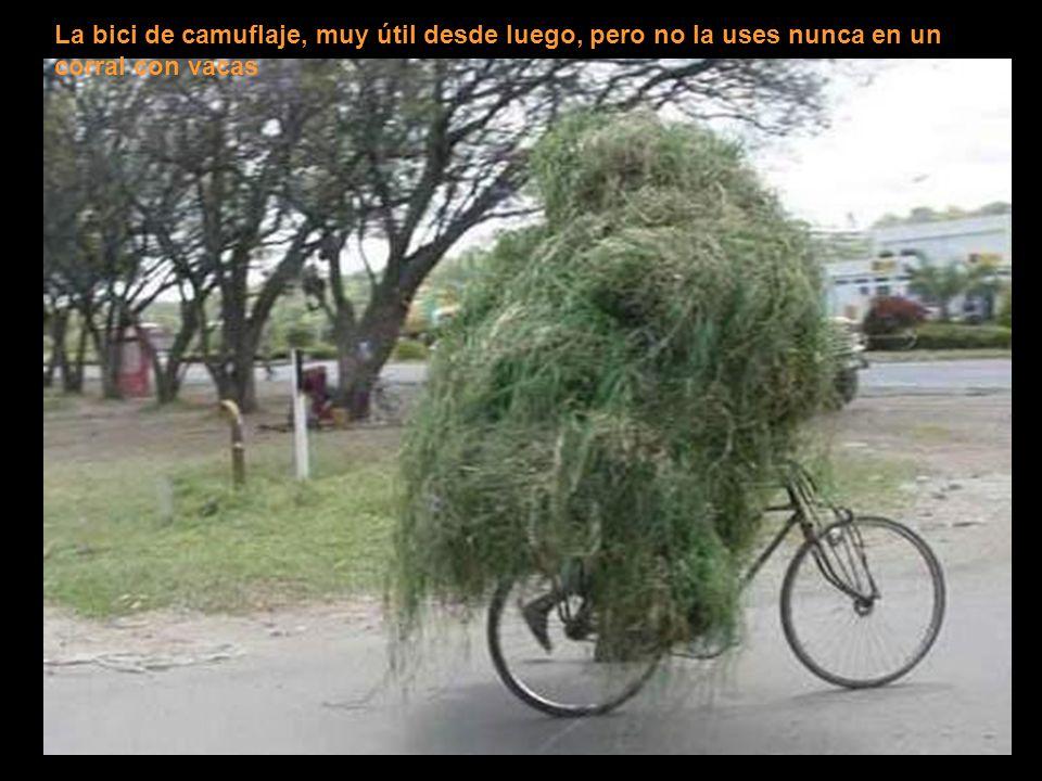 La bici de camuflaje, muy útil desde luego, pero no la uses nunca en un corral con vacas