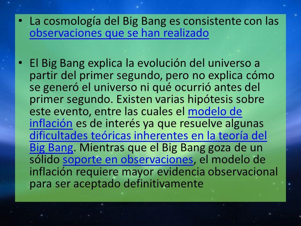 La cosmología del Big Bang es consistente con las observaciones que se han realizado