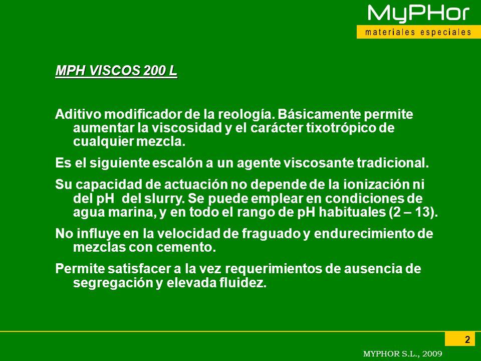 MPH VISCOS 200 LAditivo modificador de la reología. Básicamente permite aumentar la viscosidad y el carácter tixotrópico de cualquier mezcla.
