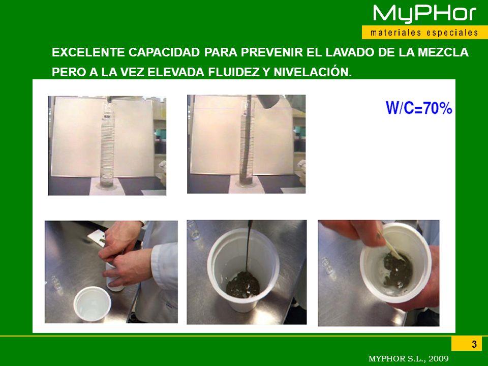 EXCELENTE CAPACIDAD PARA PREVENIR EL LAVADO DE LA MEZCLA