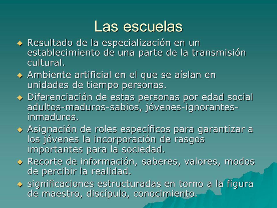 Las escuelas Resultado de la especialización en un establecimiento de una parte de la transmisión cultural.