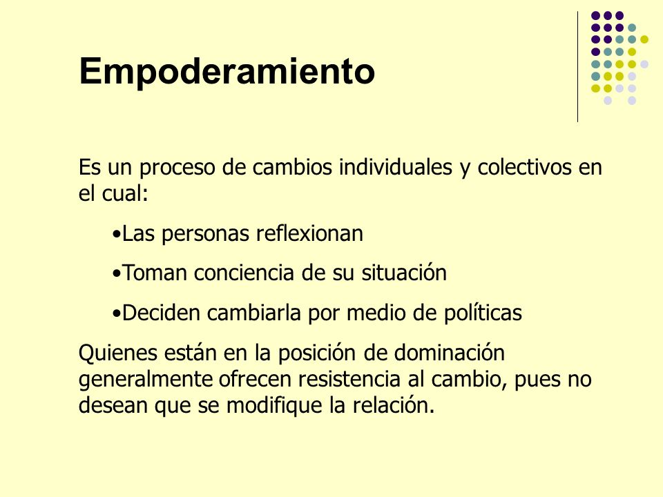 Empoderamiento Es un proceso de cambios individuales y colectivos en el cual: Las personas reflexionan.