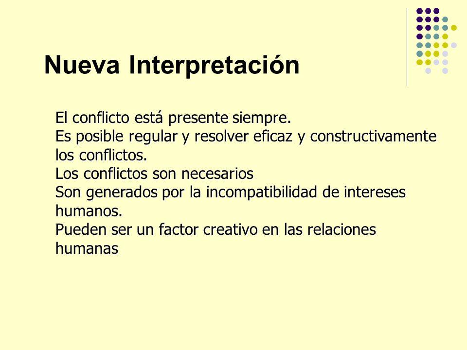 Nueva Interpretación El conflicto está presente siempre.