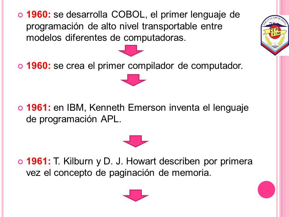 1960: se desarrolla COBOL, el primer lenguaje de programación de alto nivel transportable entre modelos diferentes de computadoras.