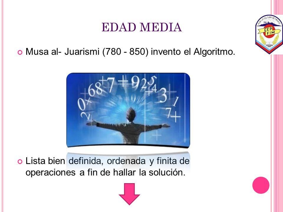 EDAD MEDIA Musa al- Juarismi (780 - 850) invento el Algoritmo.