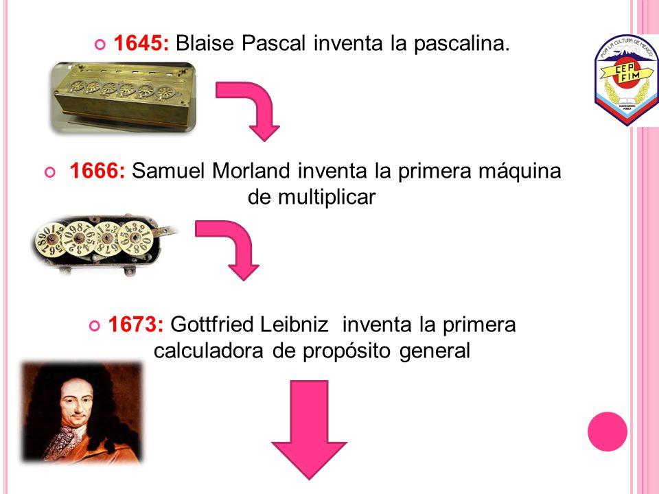 1645: Blaise Pascal inventa la pascalina.