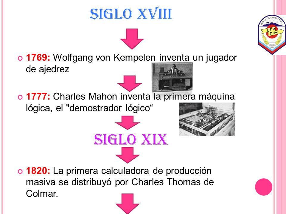 SIGLO XVIII 1769: Wolfgang von Kempelen inventa un jugador de ajedrez