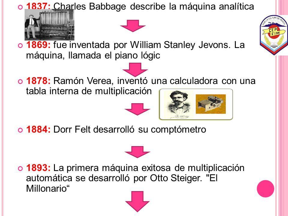 1837: Charles Babbage describe la máquina analítica