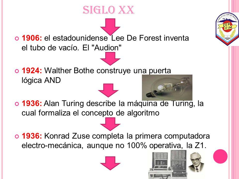 SIGLO XX 1906: el estadounidense Lee De Forest inventa el tubo de vacío. El Audion 1924: Walther Bothe construye una puerta lógica AND.