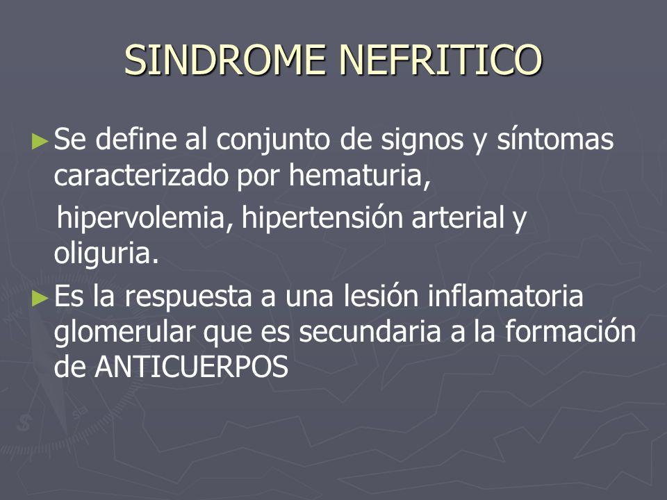 SINDROME NEFRITICO Se define al conjunto de signos y síntomas caracterizado por hematuria, hipervolemia, hipertensión arterial y oliguria.