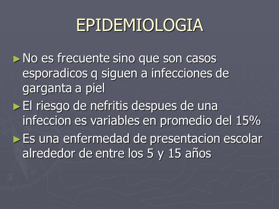 EPIDEMIOLOGIA No es frecuente sino que son casos esporadicos q siguen a infecciones de garganta a piel.