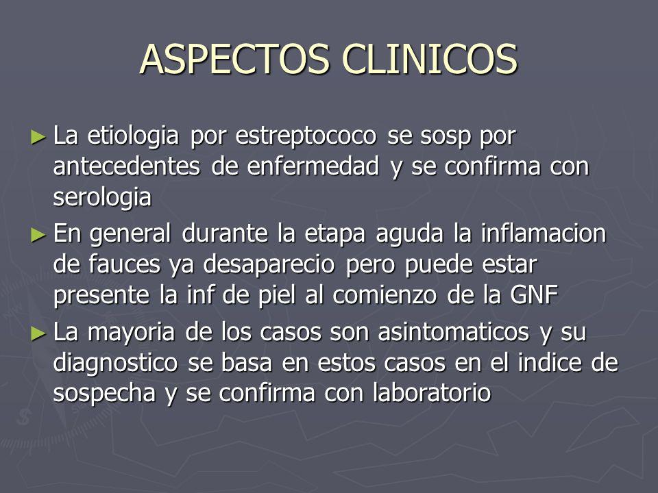ASPECTOS CLINICOSLa etiologia por estreptococo se sosp por antecedentes de enfermedad y se confirma con serologia.