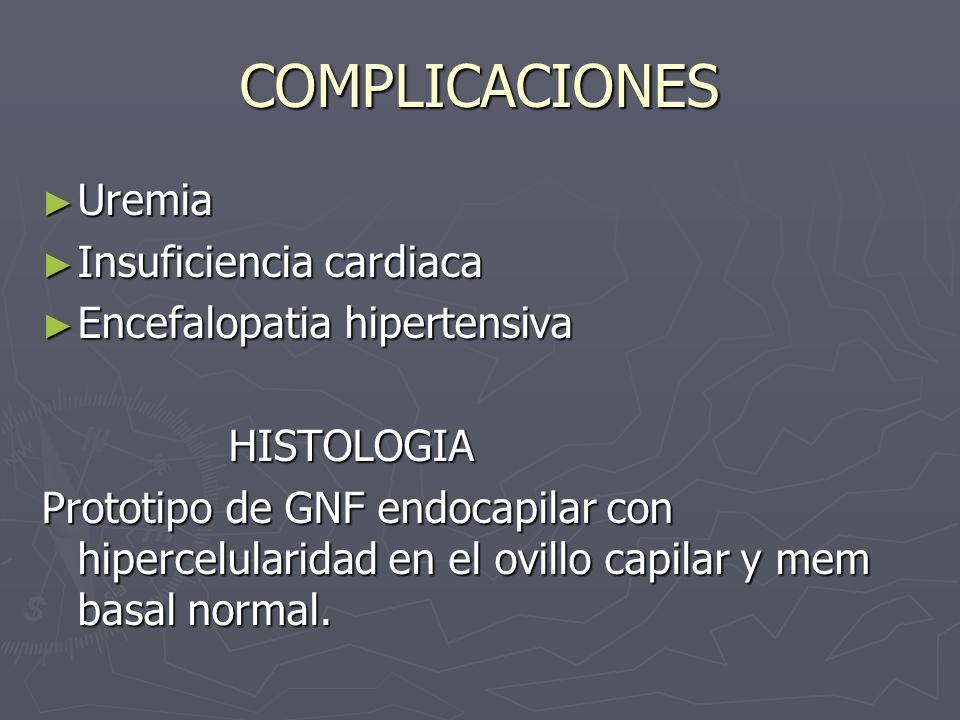 COMPLICACIONES Uremia Insuficiencia cardiaca