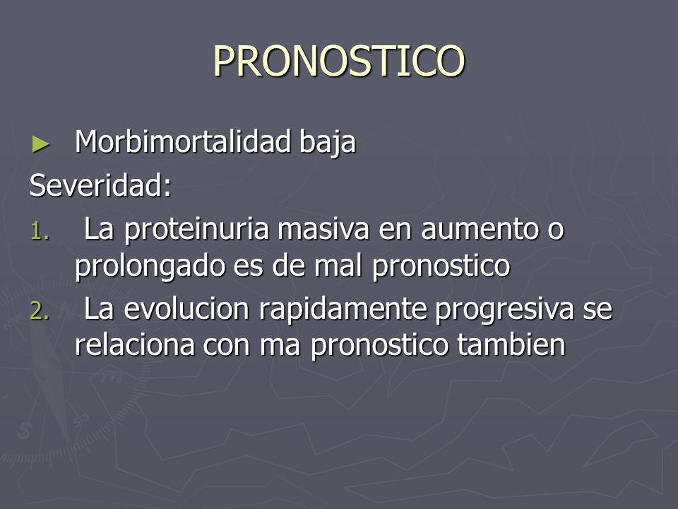 PRONOSTICO Morbimortalidad baja Severidad:
