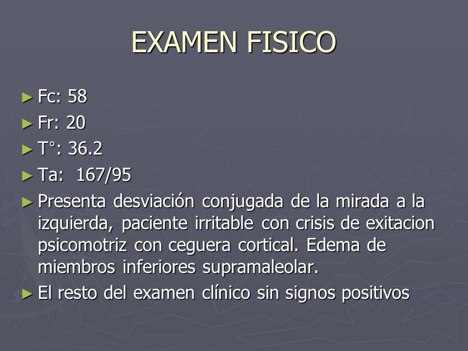 EXAMEN FISICO Fc: 58 Fr: 20 T°: 36.2 Ta: 167/95