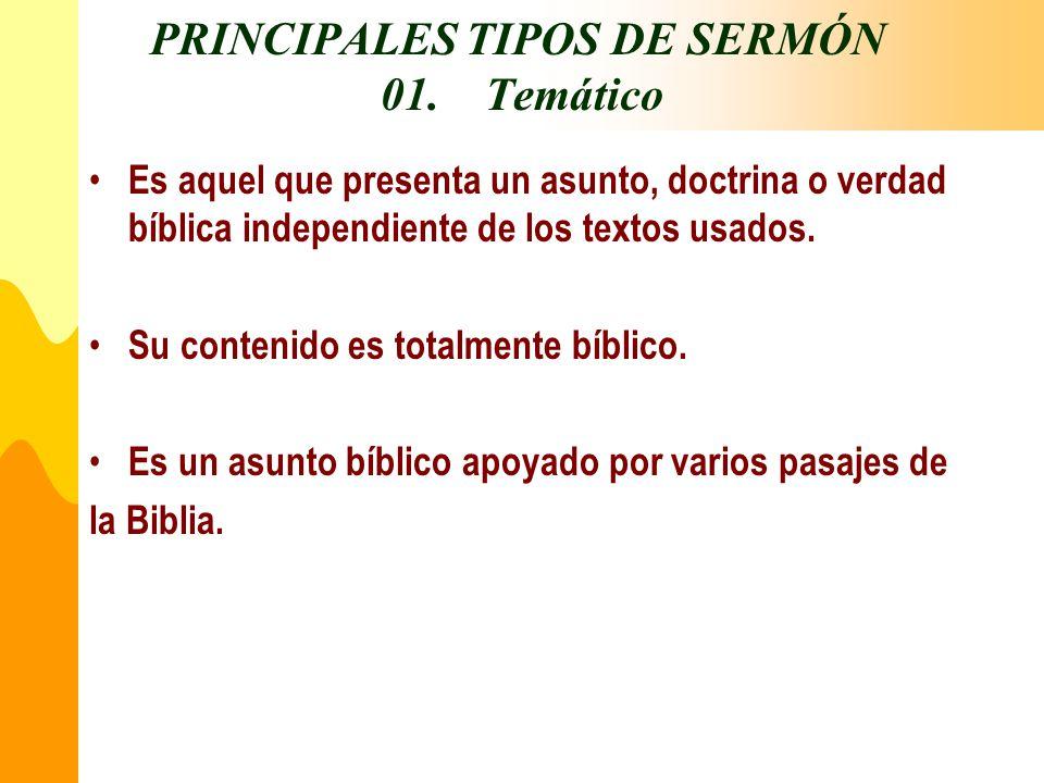 PRINCIPALES TIPOS DE SERMÓN 01. Temático