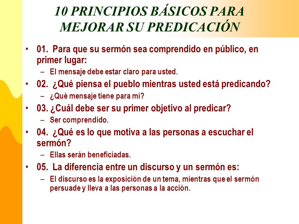10 PRINCIPIOS BÁSICOS PARA MEJORAR SU PREDICACIÓN