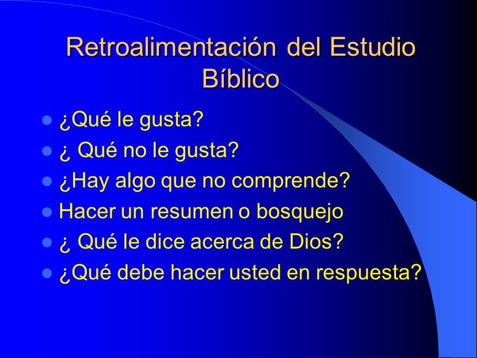 Retroalimentación del Estudio Bíblico