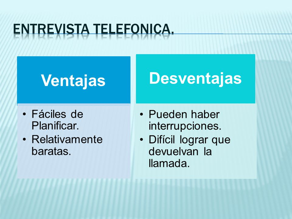 ENTREVISTA TELEFONICA.