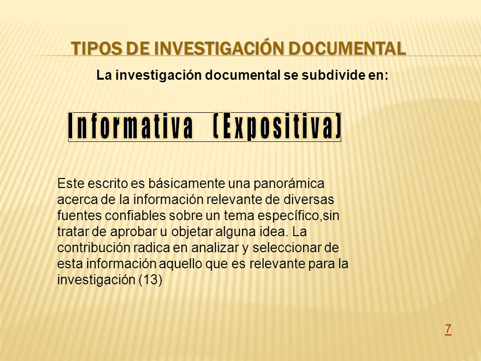 Tipos de investigación documental