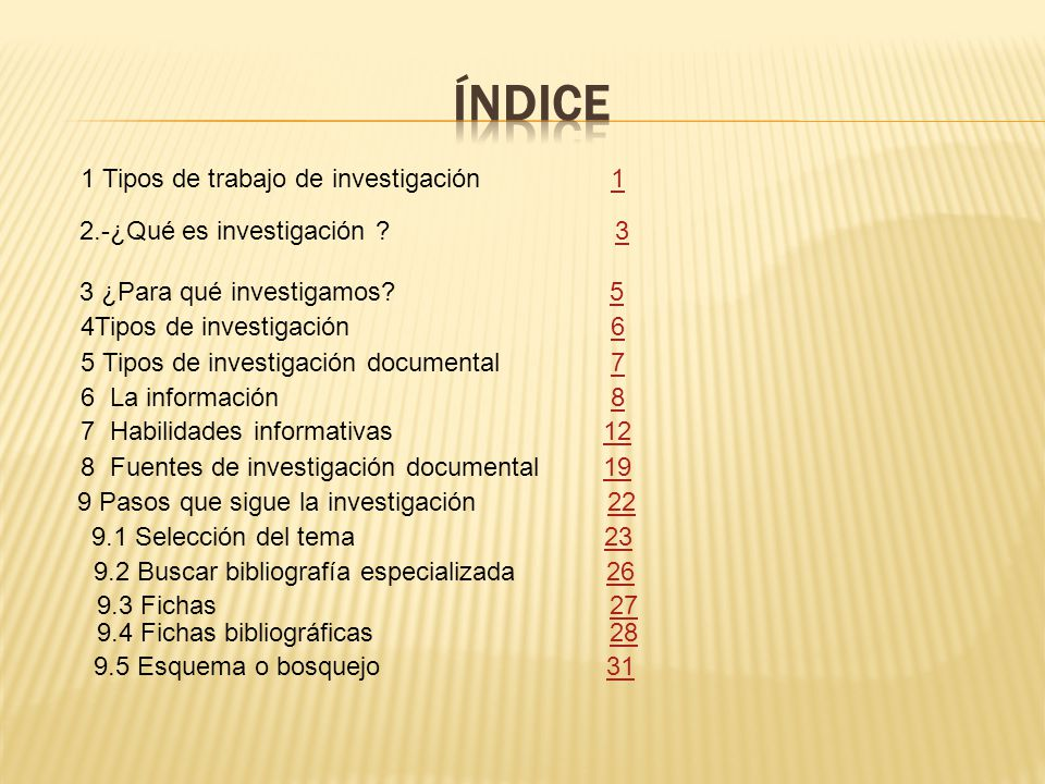 Índice 1 Tipos de trabajo de investigación 1