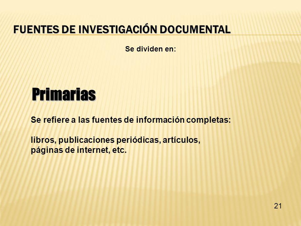 Fuentes de investigación documental
