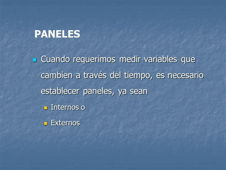 PANELES Cuando requerimos medir variables que cambien a través del tiempo, es necesario establecer paneles, ya sean.