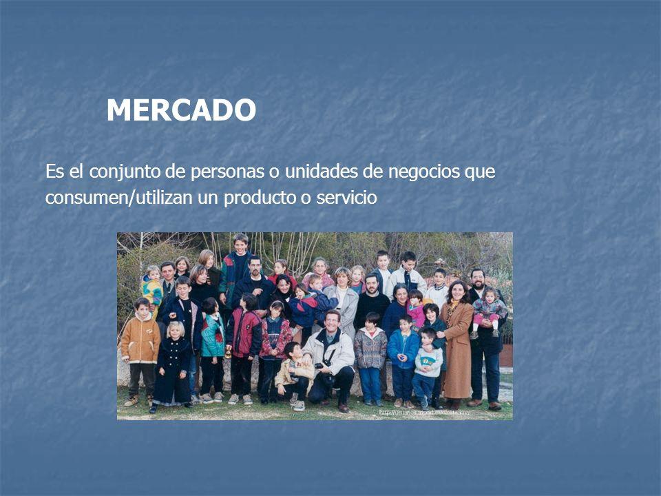 MERCADO Es el conjunto de personas o unidades de negocios que consumen/utilizan un producto o servicio.
