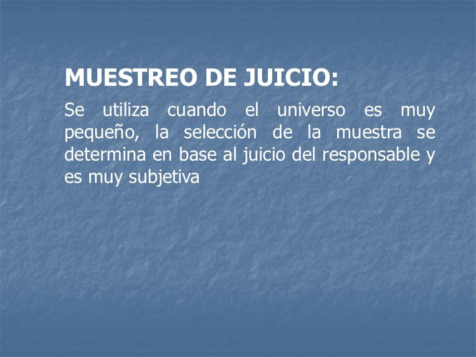 MUESTREO DE JUICIO: