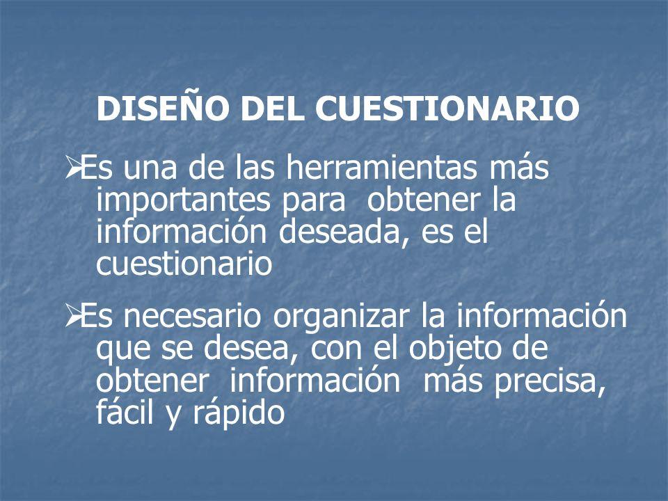 DISEÑO DEL CUESTIONARIO
