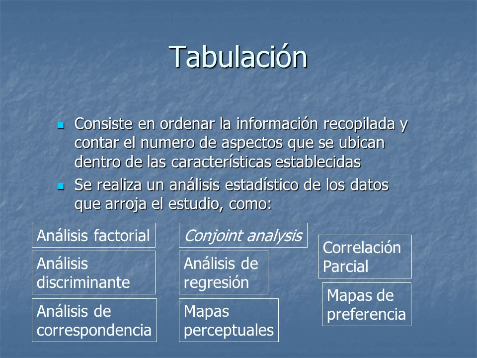 Tabulación Consiste en ordenar la información recopilada y contar el numero de aspectos que se ubican dentro de las características establecidas.